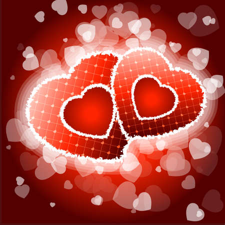Red Valentines day background with Hearts and sparkles Vector