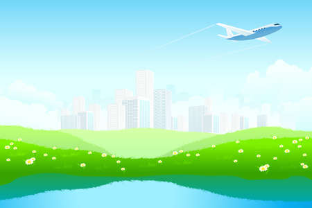 Green Landscape with City, aircraft, lake and flowers Stock Vector - 8892450