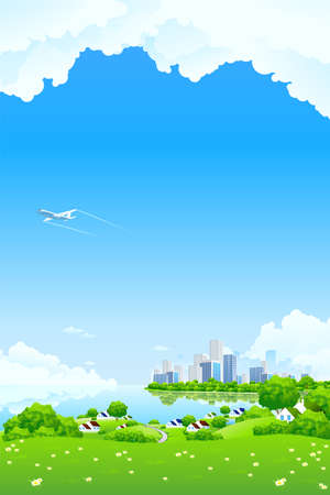 Green Landscape with City aircraft lake and flowers Stock Vector - 8892454
