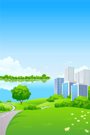Green Landscape with City lake and trees Stock Vector - 8892453