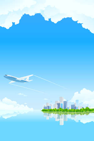 Business City Landscape with clouds water and airplane Vector