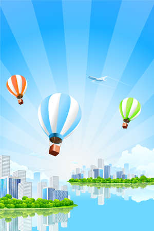 Business City Island with clouds water rays hot air balloons and airplane Vector