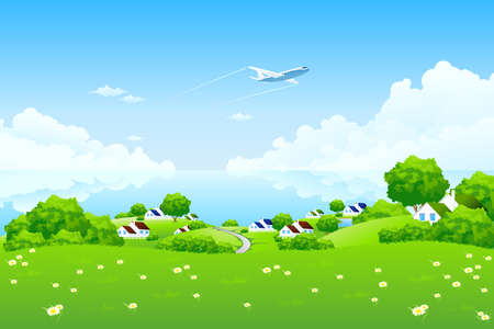 hills land: Green Landscape with aircraft clouds water and houses Illustration