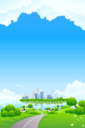 Green Landscape with business island clouds water and houses Stock Vector - 8986675