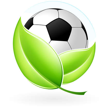 Green icon with leaves and football for your design Vector