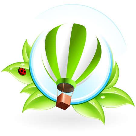 logotipo animal: Icono verde con hojas y Globo de aire caliente para el dise�o