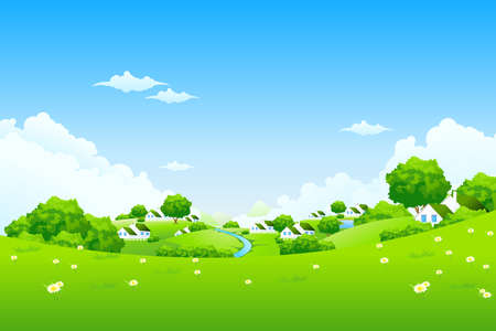 Green Landscape with houses clouds flowers and trees Stock Vector - 9151946