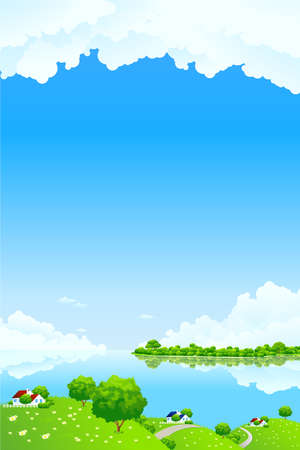 Green Landscape with clouds water and houses Stock Vector - 9151952