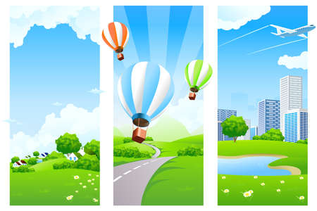 Three Nature banners with clouds grass flowers aircraft and balloons Vector