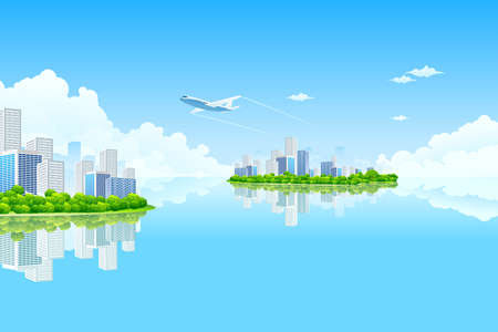 Business City Island with clouds water and airplane Vector