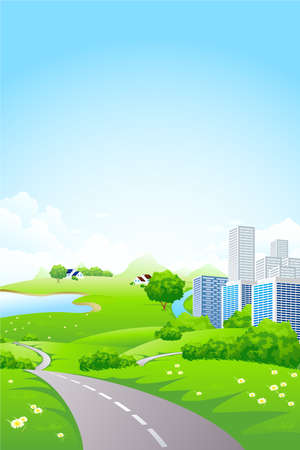 Green City Landscape with road lake and flowers Vector