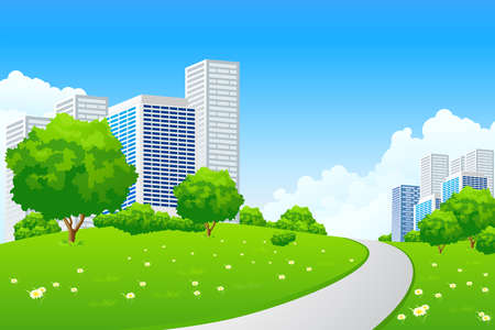 Green landscape with tree road city and clouds Stock Vector - 9151948
