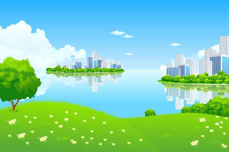 Green City Landscape with hills and flowers Stock Vector - 9151958