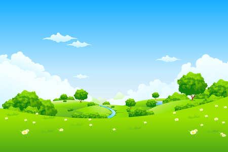 speelveld gras: Groen landschap met wolken bloemen van bomen en bergen Stock Illustratie
