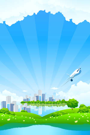 Green Landscape with City water and clouds Vector