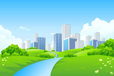 Green landscape with trees river and city Illustration