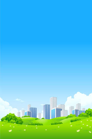 Green landscape with flowers city and clouds Stock Vector - 9234069