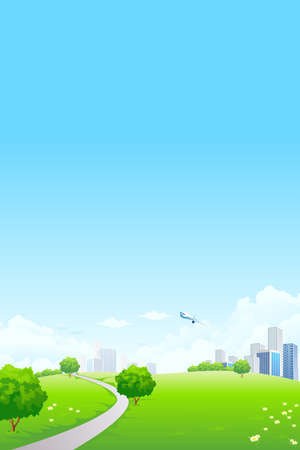 Green landscape with tree road city and clouds Stock Vector - 9234068