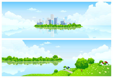 Two horizontal Nature banners with clouds grass flowers and buildings
