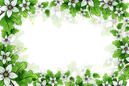 translucent: Flower frame with leaves for your design