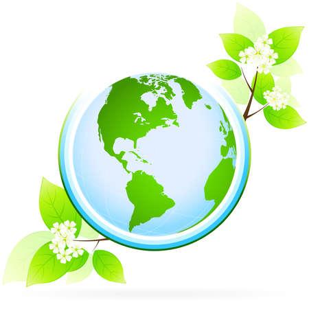 green planet: Ic�ne de plan�te verte avec des feuilles et des fleurs pour votre conception Illustration