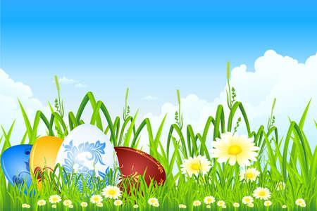 fondos religiosos: Huevos de Pascua en la hierba con flores y nubes Vectores