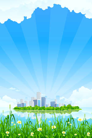 Business City Landscape with clouds water and grass Vector