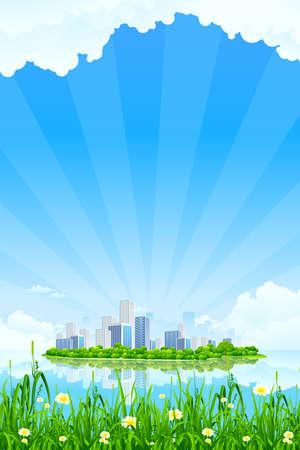 buildings on water: Paisaje de ciudad de negocios con pasto y agua de las nubes