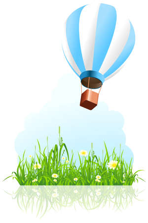 green balloons: Green grass with flowers and hot air balloon on white background Illustration
