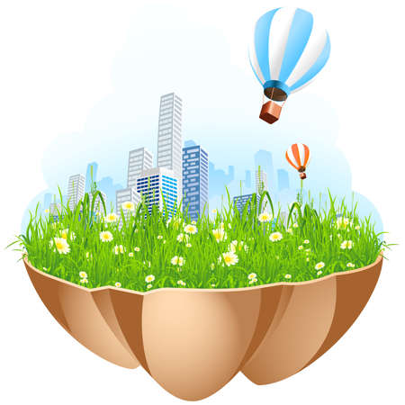 Green City Island with grass flowers and hot-air-balloons