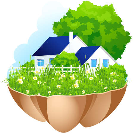 Green Island with home grass flowers and tree Vector
