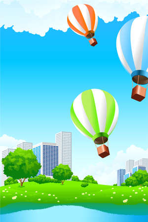 Green city with lake balloons and tree for your design
