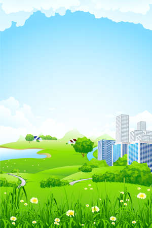 computer graphic design: Green landscape with flowers grass lake and city Illustration