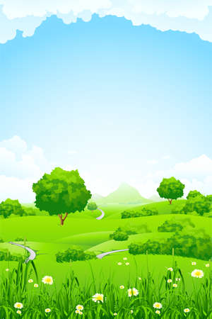 Green Landscape with trees clouds flowers and mountains Illustration