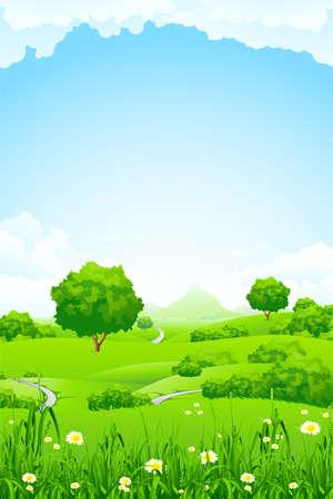mountain meadow: Verde paisaje con monta�as y �rboles nubes flores