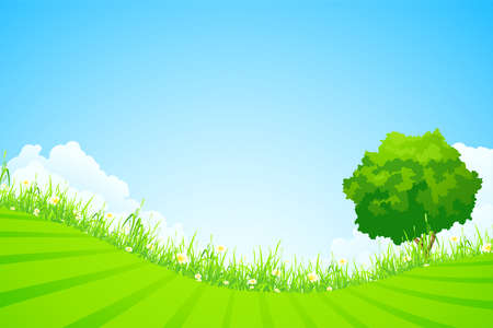 Green landscape with  tree and clouds Stock Vector - 9794256