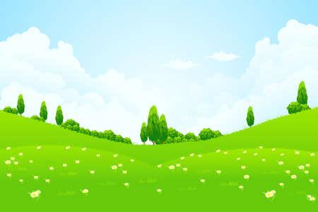 mountain meadow: Paisaje verde con colinas y �rboles nubes flores Vectores