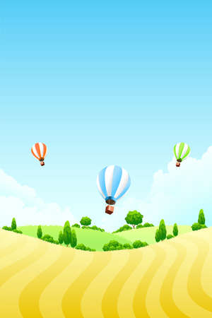 Nature background with field tree and hot air balloons Vector