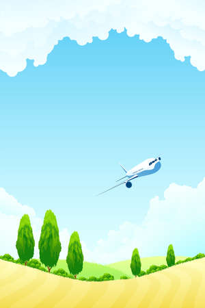 Green landscape with  trees hills aircraft and clouds Vector