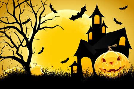sky lantern: Halloween background avec de la citrouille dans l'herbe maison dans les arbres et la lune