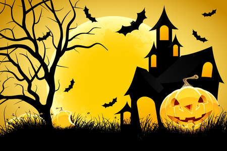 Halloween background with pumpkin in grass  house tree and moon Illustration