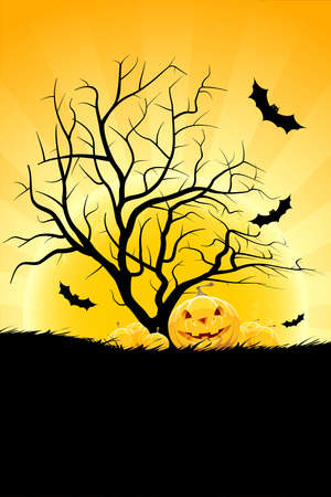 Halloween background with pumpkin in grass bat tree and moon Vector
