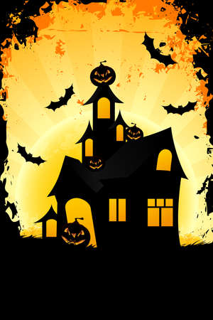 Halloween background with haunted house pumpkin in grass  bats and full moon
