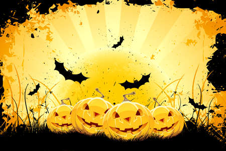 Grungy Halloween background with pumpkins  bats and full moon Vector