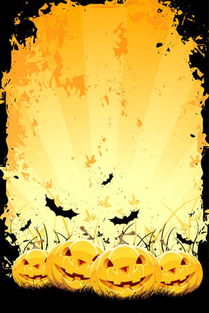 horror background: Grungy Halloween background with pumpkins in grass and bats Illustration