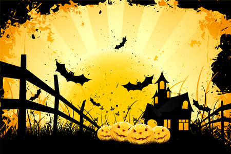 Grungy Halloween background with pumpkins  bats house and full moon Vector