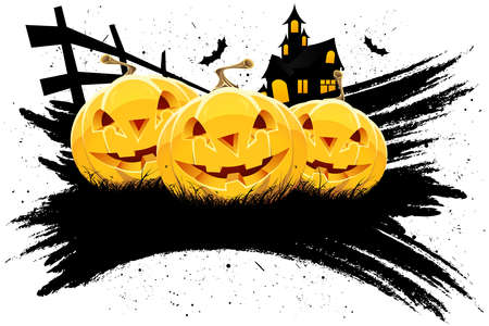 Grungy Halloween background with pumpkins  bats and house isolated on white Illustration