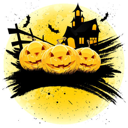 Grungy Halloween background with pumpkins  house bats and full moon Vector