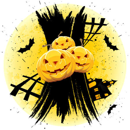 grungy background: Grungy Halloween background with pumpkins  house bats and full moon Illustration