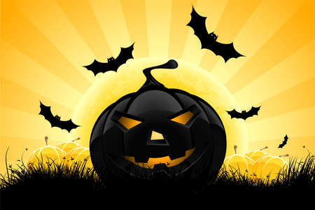 horrors: Halloween background with pumpkin, bats and full moon